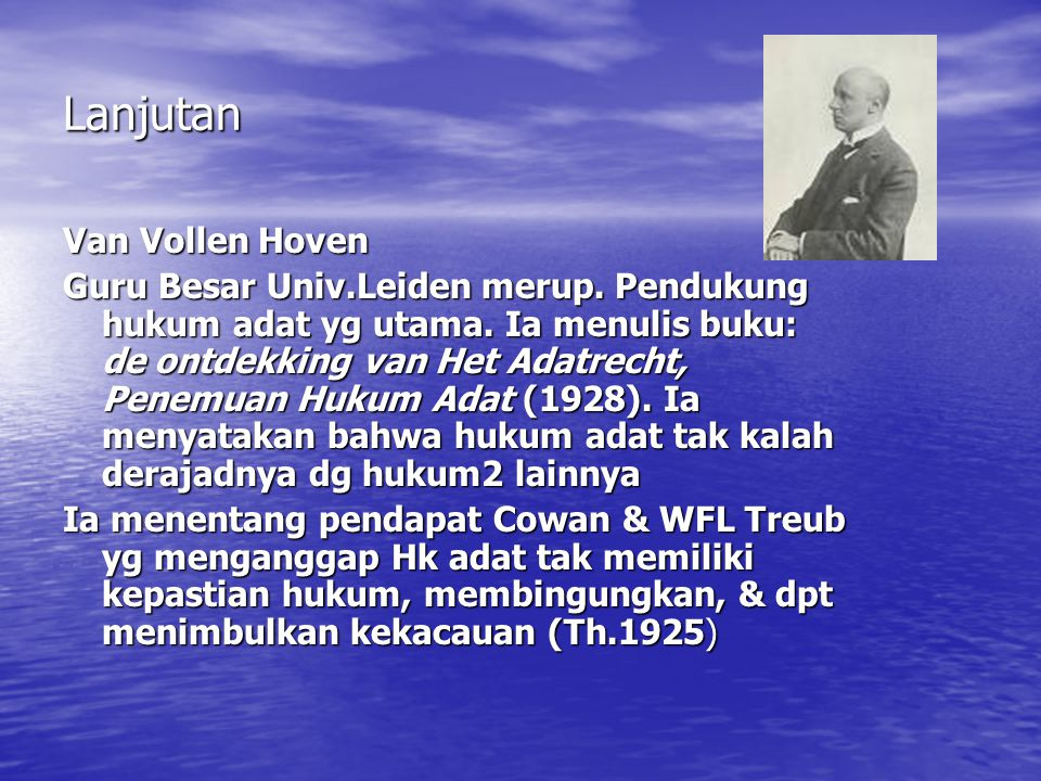 Lanjutan Van Vollen Hoven