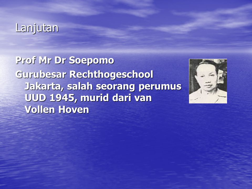 Lanjutan Prof Mr Dr Soepomo