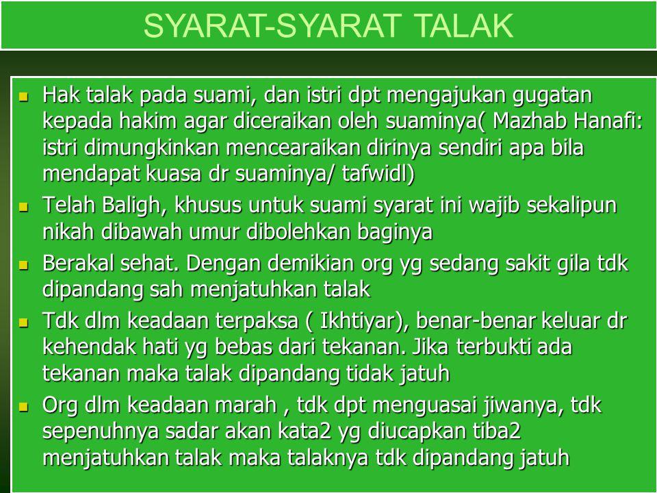 SYARAT-SYARAT TALAK