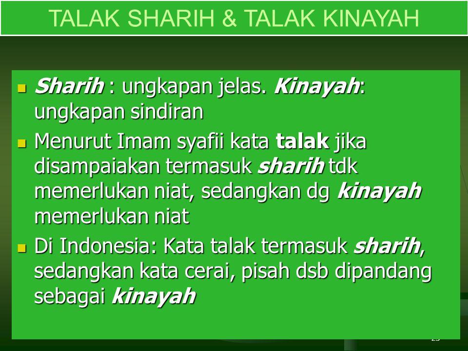 TALAK SHARIH & TALAK KINAYAH