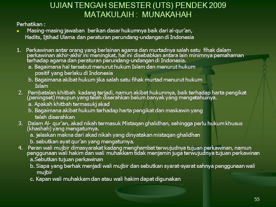 UJIAN TENGAH SEMESTER (UTS) PENDEK 2009 MATAKULAIH : MUNAKAHAH