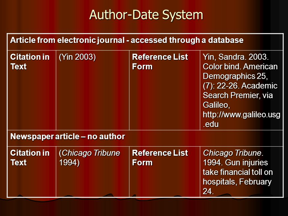 Author-Date System Article from electronic journal - accessed through a database. Citation in Text.