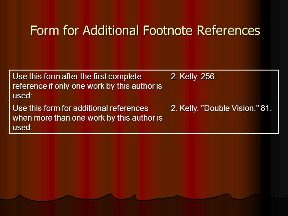 Form for Additional Footnote References
