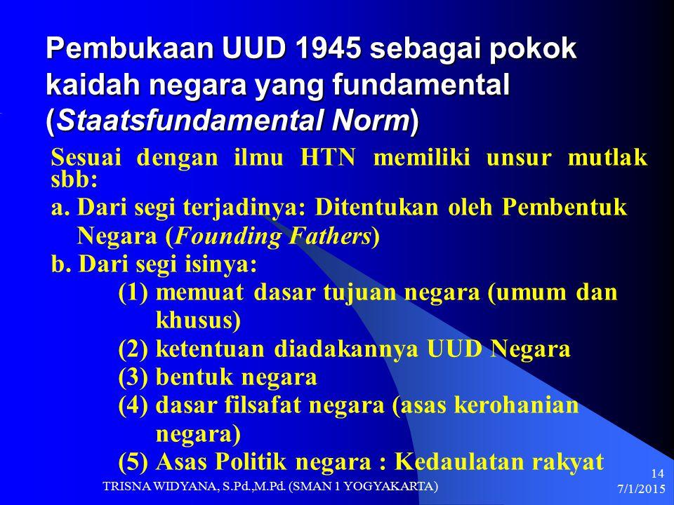 Pembukaan UUD 1945 sebagai pokok kaidah negara yang fundamental (Staatsfundamental Norm)