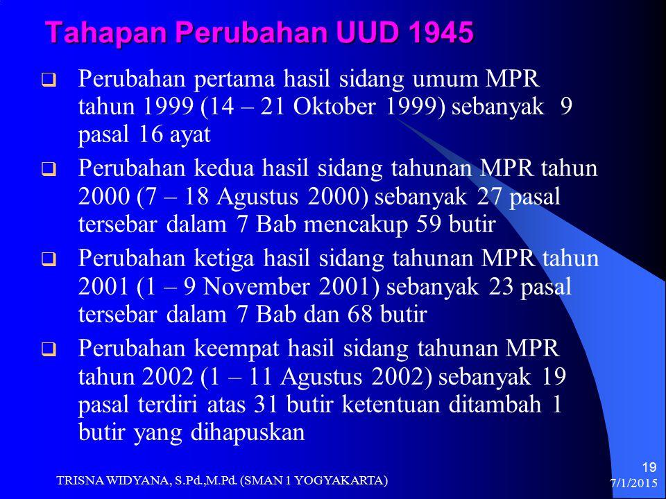 Tahapan Perubahan UUD 1945 Perubahan pertama hasil sidang umum MPR tahun 1999 (14 – 21 Oktober 1999) sebanyak 9 pasal 16 ayat.
