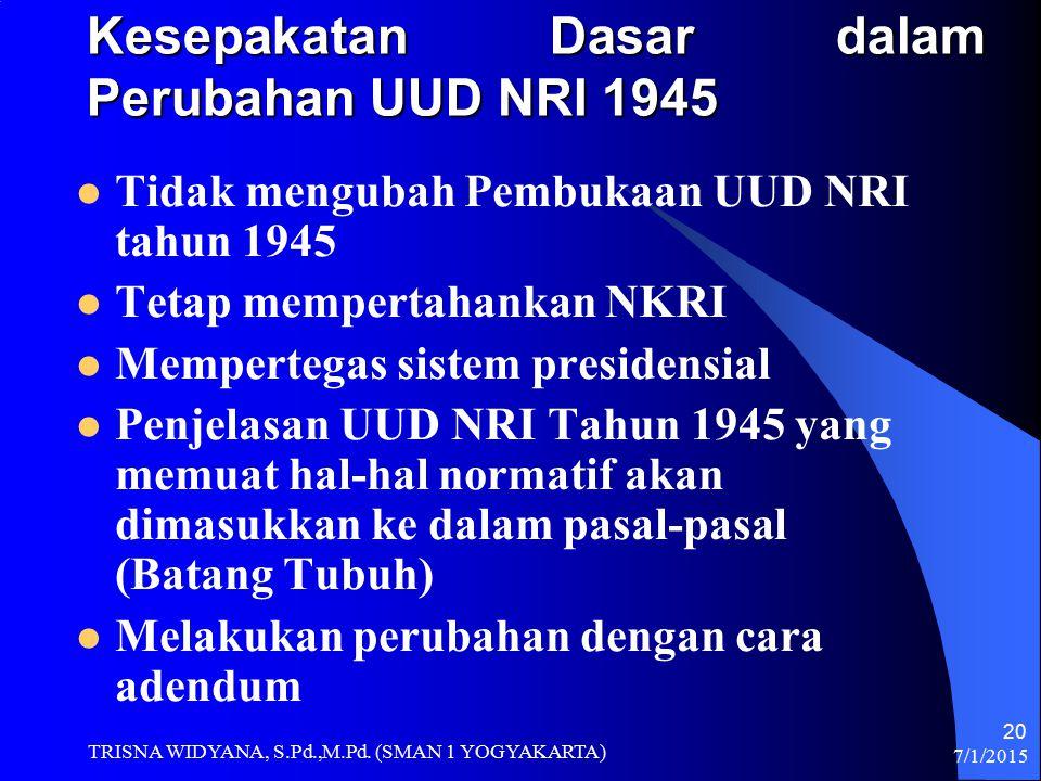 Kesepakatan Dasar dalam Perubahan UUD NRI 1945
