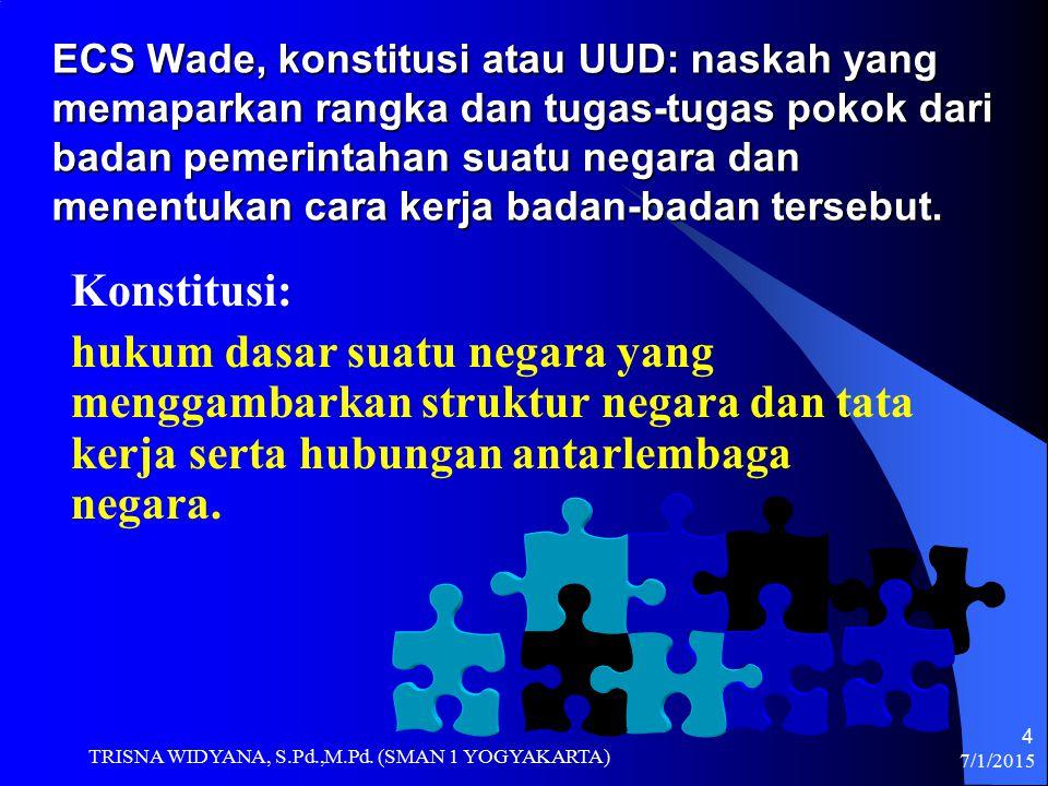 ECS Wade, konstitusi atau UUD: naskah yang memaparkan rangka dan tugas-tugas pokok dari badan pemerintahan suatu negara dan menentukan cara kerja badan-badan tersebut.