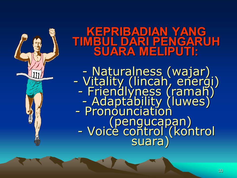 KEPRIBADIAN YANG TIMBUL DARI PENGARUH SUARA MELIPUTI: - Naturalness (wajar) - Vitality (lincah, energi) - Friendlyness (ramah) - Adaptability (luwes) - Pronounciation (pengucapan) - Voice control (kontrol suara)