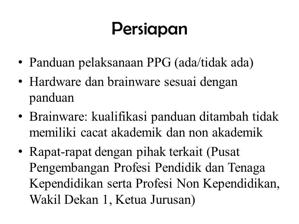 Persiapan Panduan pelaksanaan PPG (ada/tidak ada)