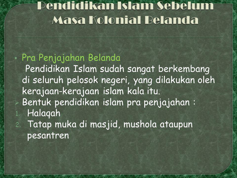 Pendidikan Islam Sebelum Masa Kolonial Belanda