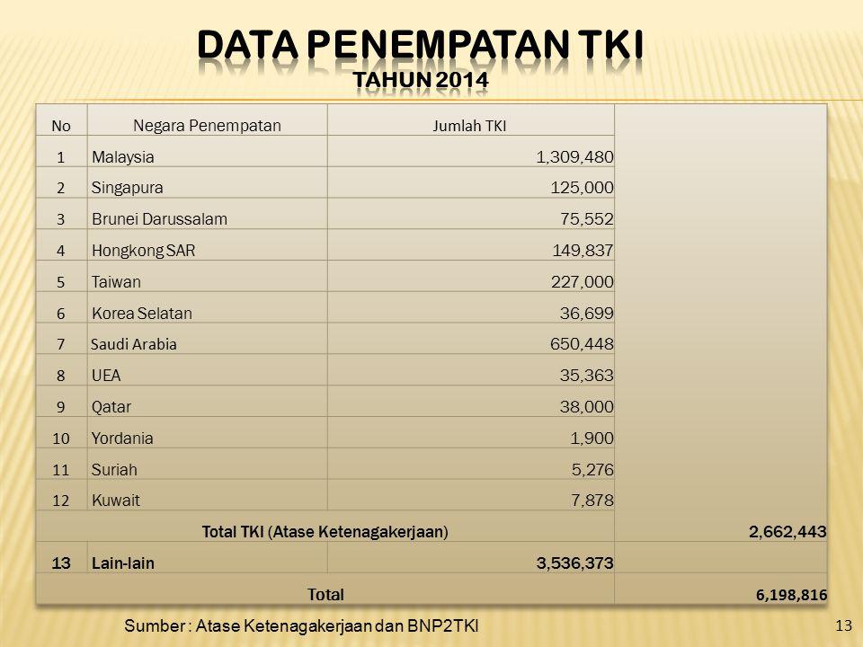 Data penempatan TKI Tahun 2014
