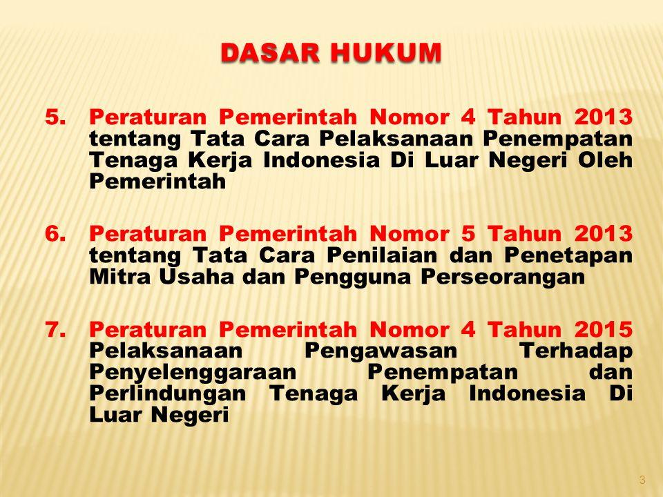 DASAR HUKUM Peraturan Pemerintah Nomor 4 Tahun 2013 tentang Tata Cara Pelaksanaan Penempatan Tenaga Kerja Indonesia Di Luar Negeri Oleh Pemerintah.