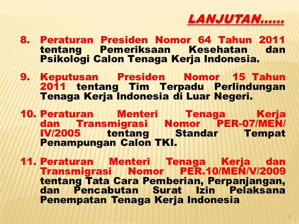 LANJUTAN...... Peraturan Presiden Nomor 64 Tahun 2011 tentang Pemeriksaan Kesehatan dan Psikologi Calon Tenaga Kerja Indonesia.