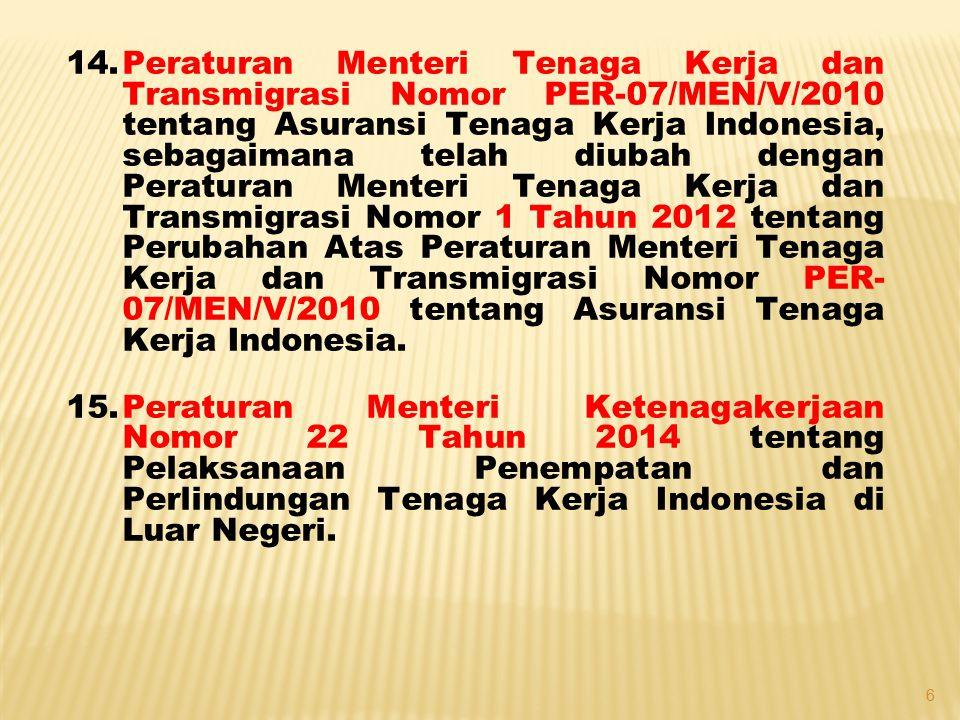 Peraturan Menteri Tenaga Kerja dan Transmigrasi Nomor PER-07/MEN/V/2010 tentang Asuransi Tenaga Kerja Indonesia, sebagaimana telah diubah dengan Peraturan Menteri Tenaga Kerja dan Transmigrasi Nomor 1 Tahun 2012 tentang Perubahan Atas Peraturan Menteri Tenaga Kerja dan Transmigrasi Nomor PER-07/MEN/V/2010 tentang Asuransi Tenaga Kerja Indonesia.