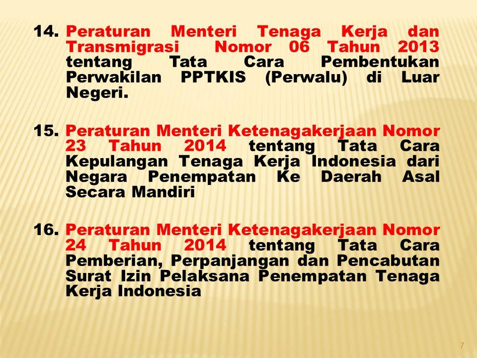 Peraturan Menteri Tenaga Kerja dan Transmigrasi Nomor 06 Tahun 2013 tentang Tata Cara Pembentukan Perwakilan PPTKIS (Perwalu) di Luar Negeri.