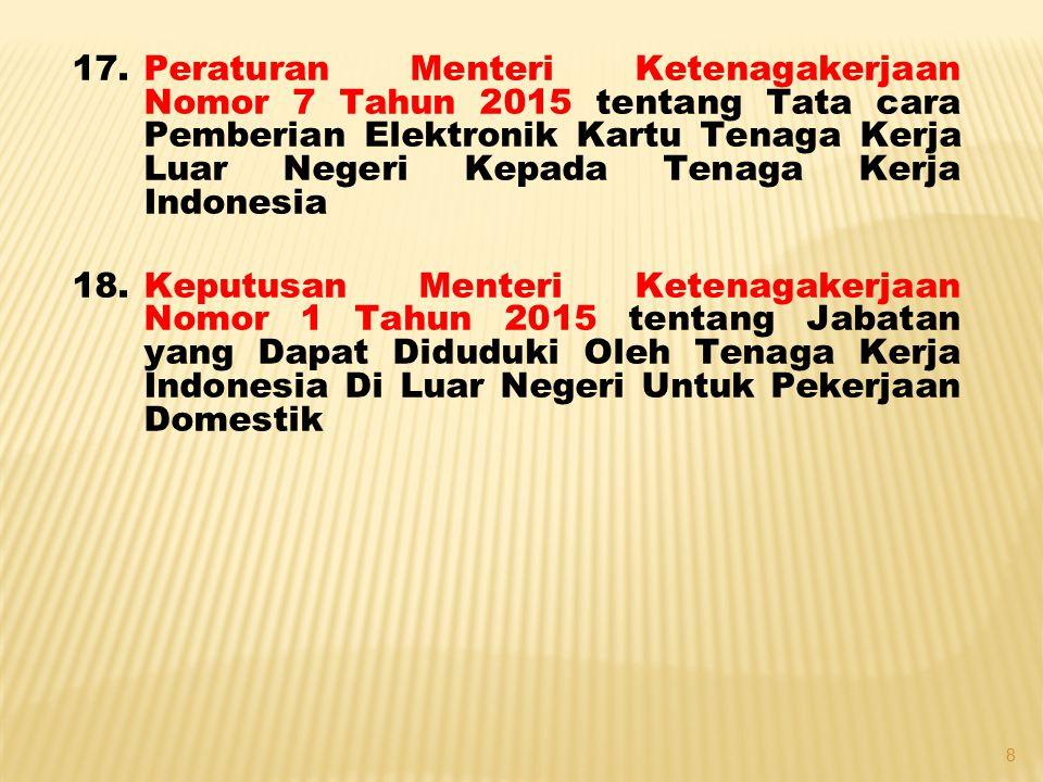Peraturan Menteri Ketenagakerjaan Nomor 7 Tahun 2015 tentang Tata cara Pemberian Elektronik Kartu Tenaga Kerja Luar Negeri Kepada Tenaga Kerja Indonesia