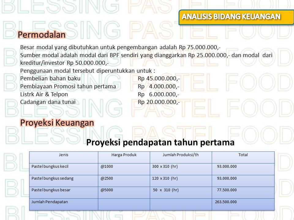 Proyeksi pendapatan tahun pertama