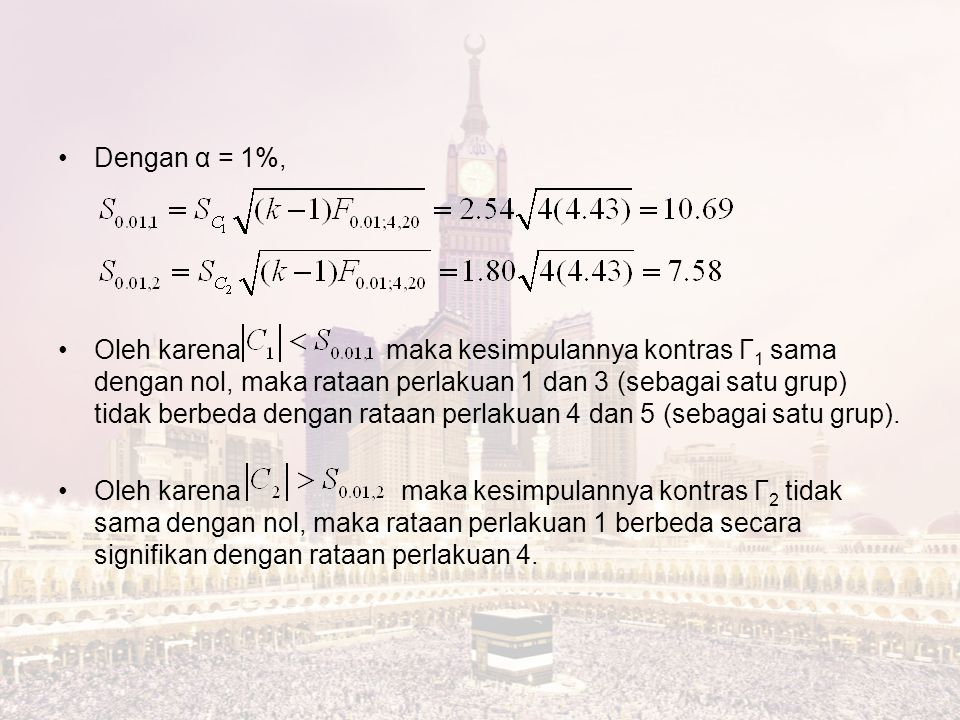 Dengan α = 1%,