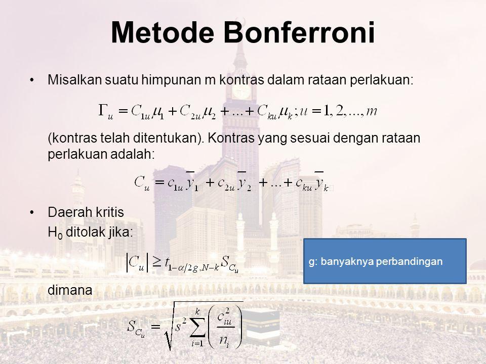 Metode Bonferroni Misalkan suatu himpunan m kontras dalam rataan perlakuan: