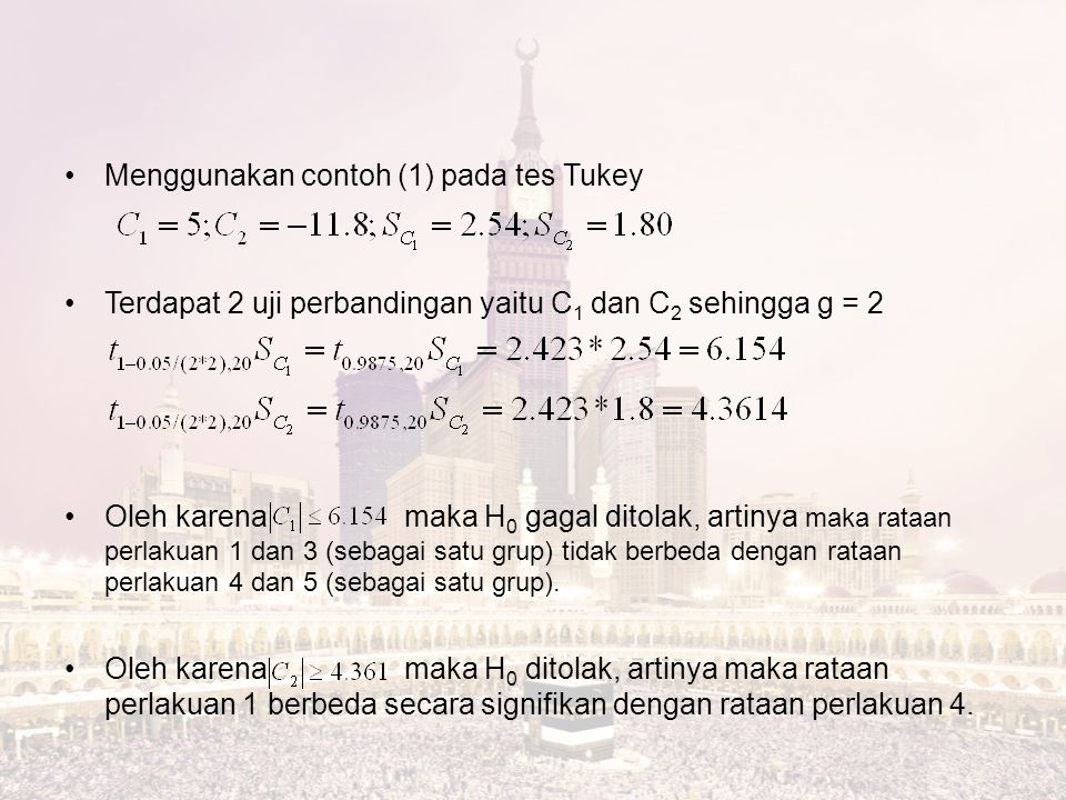 Menggunakan contoh (1) pada tes Tukey