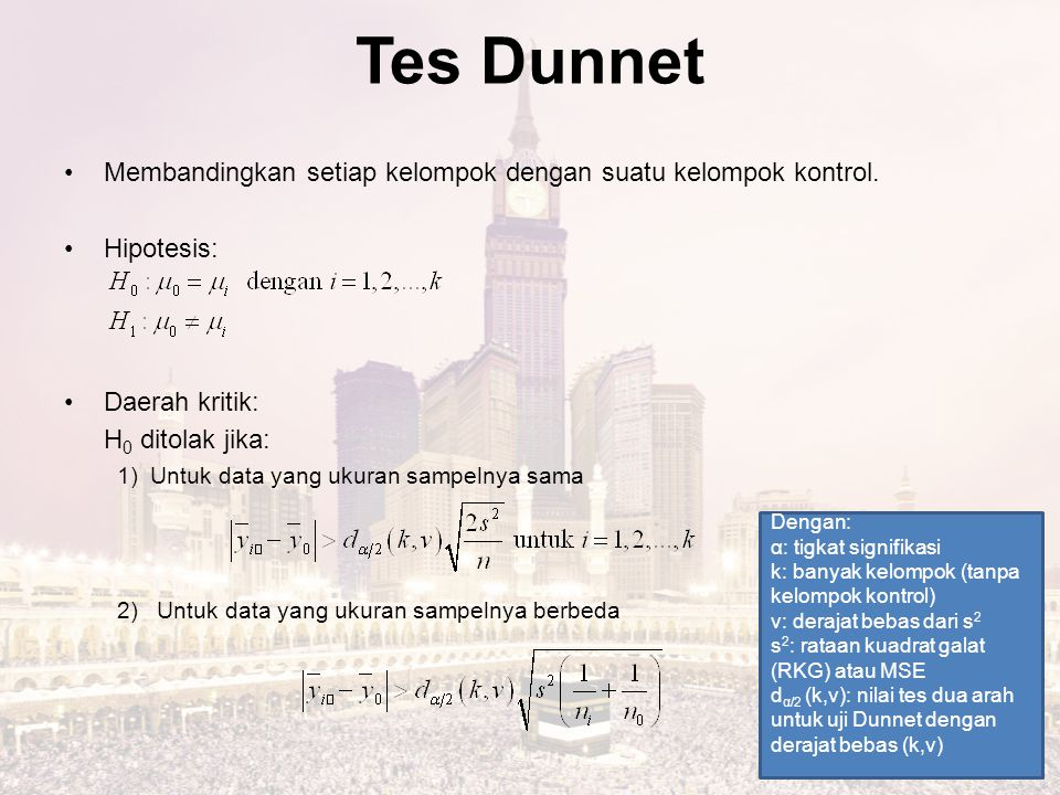 Tes Dunnet Membandingkan setiap kelompok dengan suatu kelompok kontrol. Hipotesis: Daerah kritik: