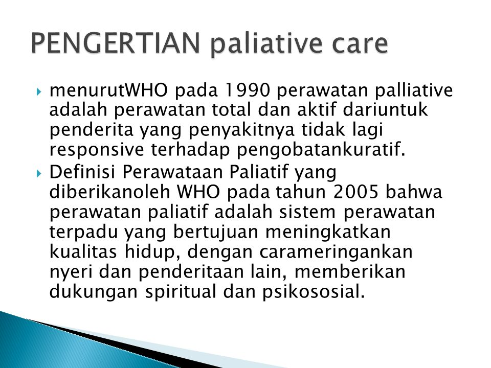 PENGERTIAN paliative care