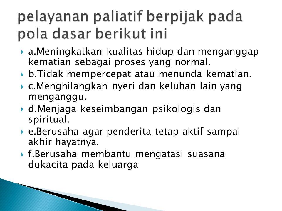 pelayanan paliatif berpijak pada pola dasar berikut ini