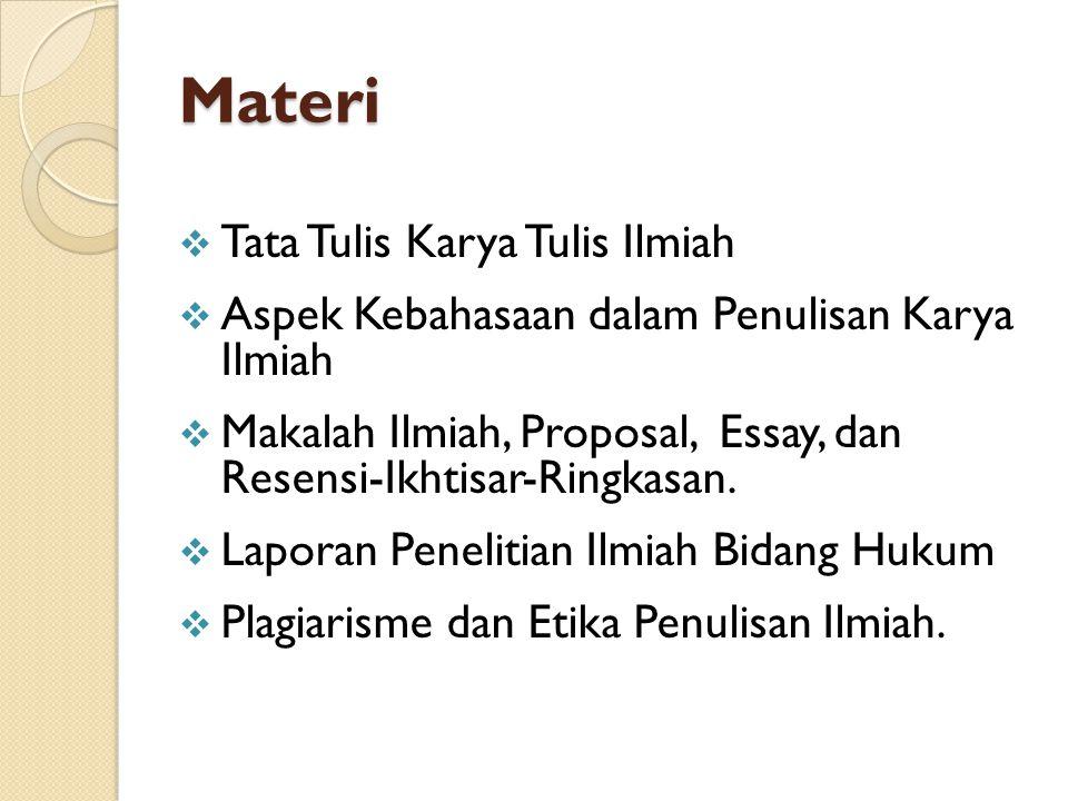Materi Tata Tulis Karya Tulis Ilmiah
