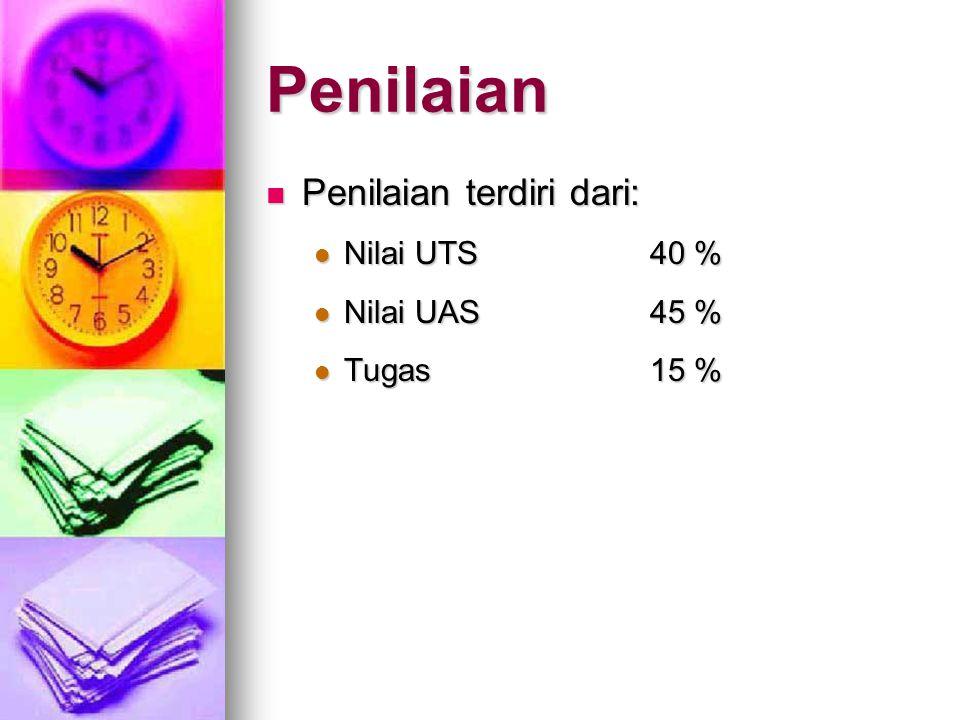 Penilaian Penilaian terdiri dari: Nilai UTS 40 % Nilai UAS 45 %