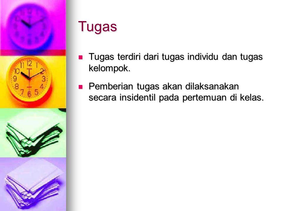 Tugas Tugas terdiri dari tugas individu dan tugas kelompok.