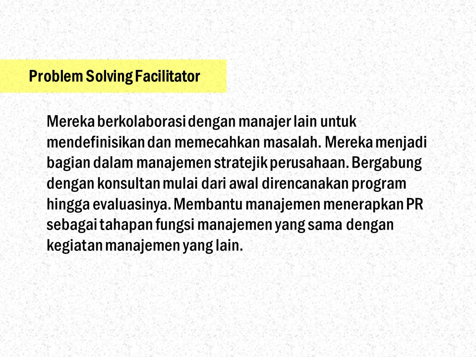 Problem Solving Facilitator