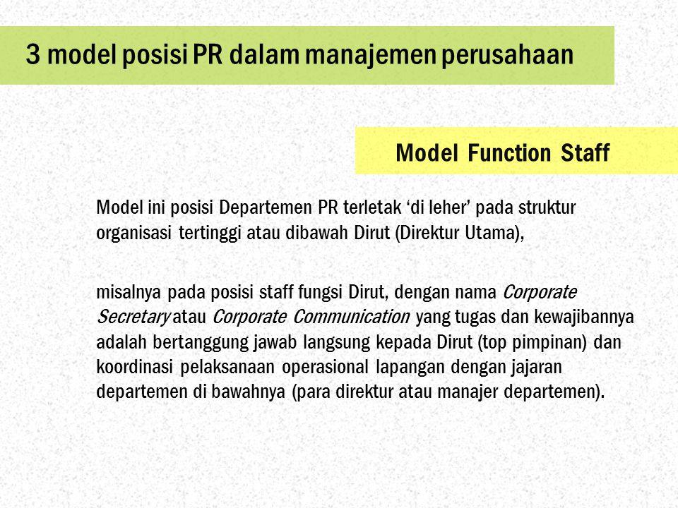 3 model posisi PR dalam manajemen perusahaan