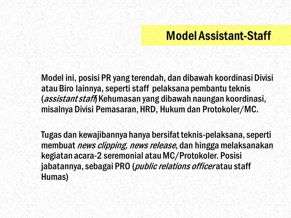 Model Assistant-Staff