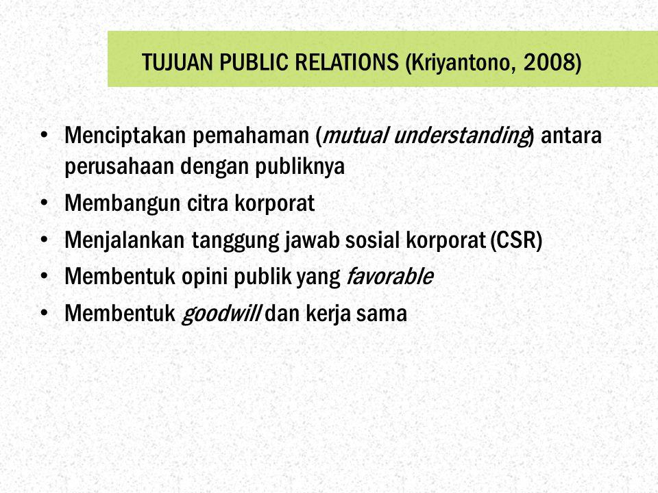 TUJUAN PUBLIC RELATIONS (Kriyantono, 2008)