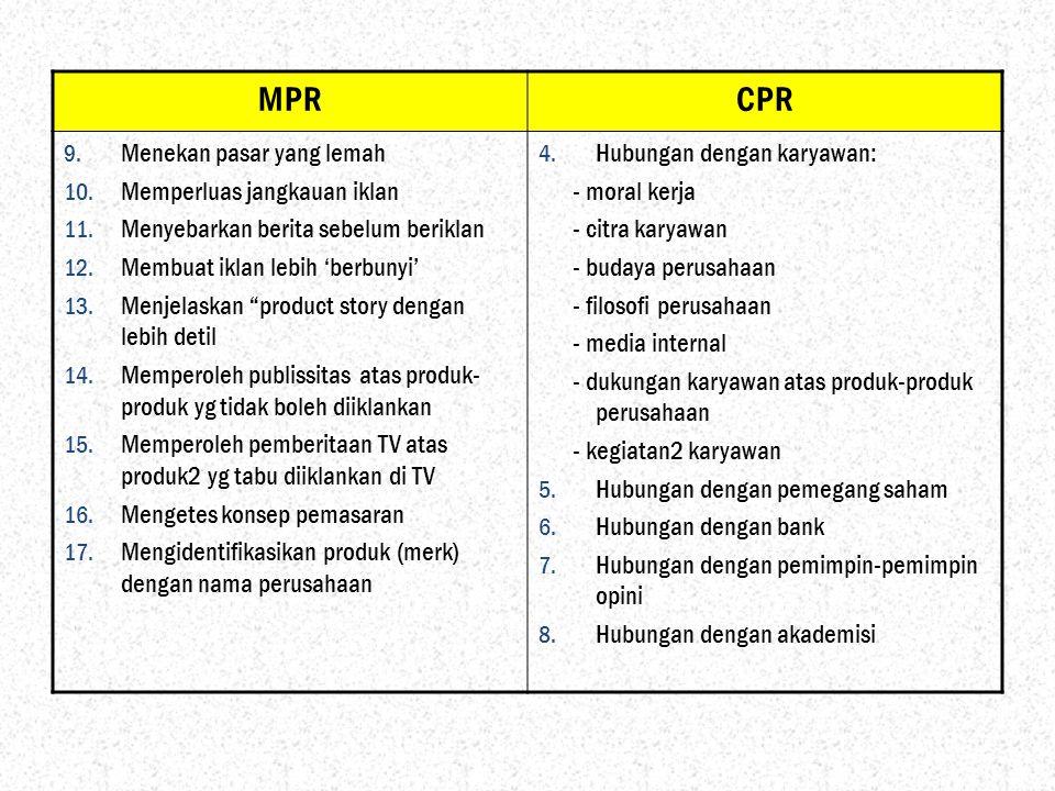 MPR CPR Menekan pasar yang lemah Memperluas jangkauan iklan