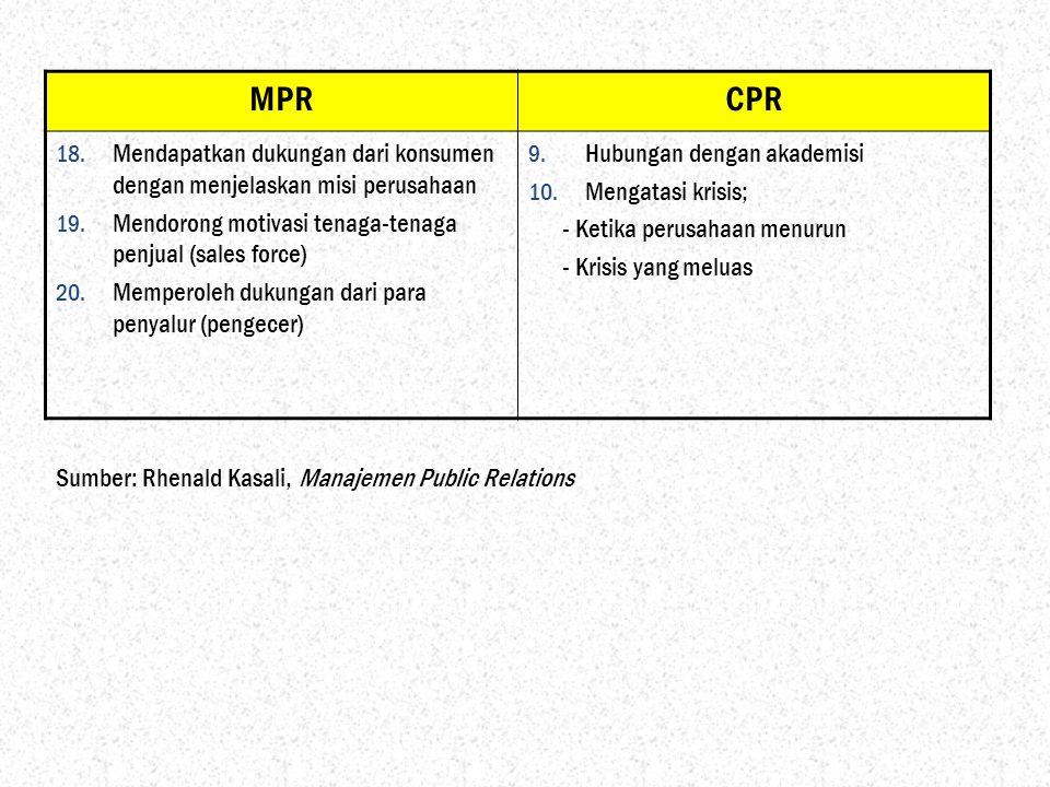 MPR CPR. Mendapatkan dukungan dari konsumen dengan menjelaskan misi perusahaan. Mendorong motivasi tenaga-tenaga penjual (sales force)