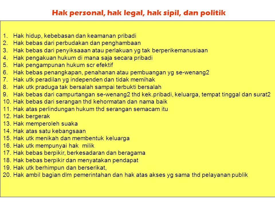 Hak personal, hak legal, hak sipil, dan politik