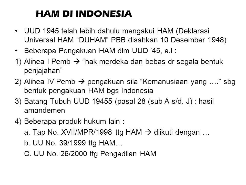 HAM DI INDONESIA UUD 1945 telah lebih dahulu mengakui HAM (Deklarasi Universal HAM DUHAM PBB disahkan 10 Desember 1948)