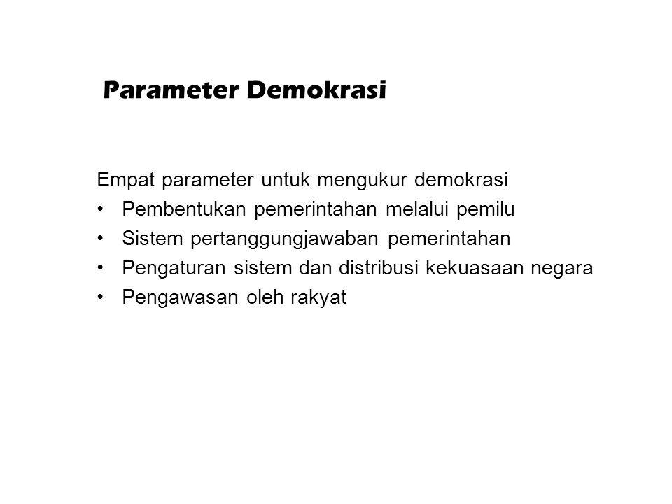 Parameter Demokrasi Empat parameter untuk mengukur demokrasi