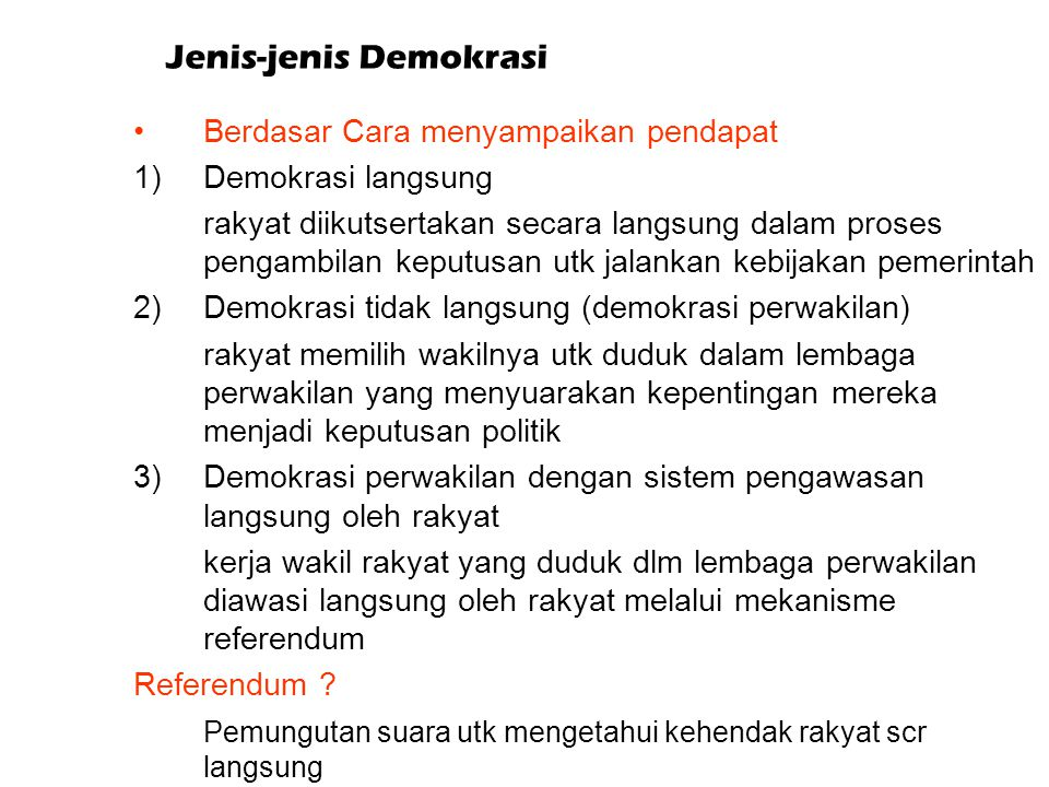Jenis-jenis Demokrasi
