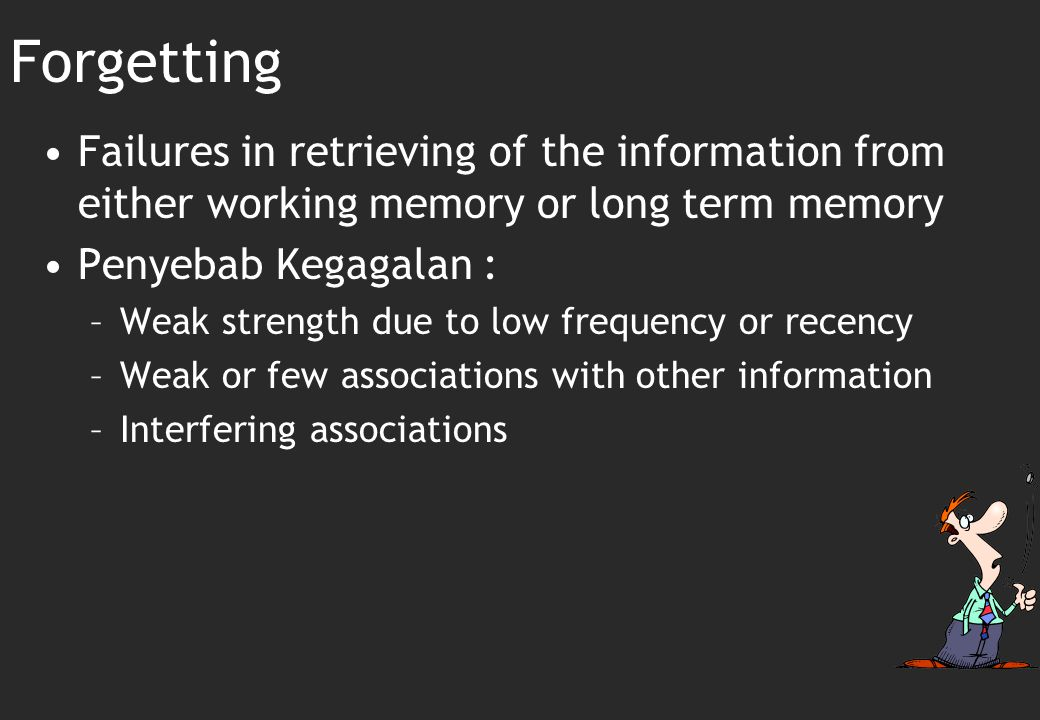 Forgetting Failures in retrieving of the information from either working memory or long term memory.