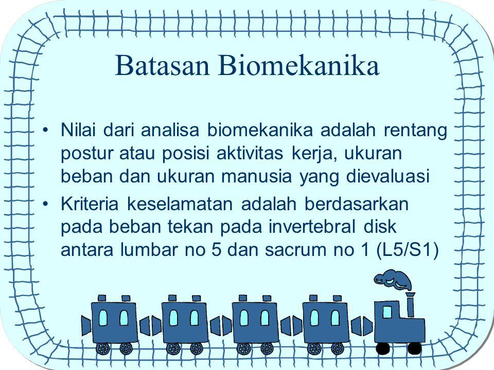 Batasan Biomekanika Nilai dari analisa biomekanika adalah rentang postur atau posisi aktivitas kerja, ukuran beban dan ukuran manusia yang dievaluasi.