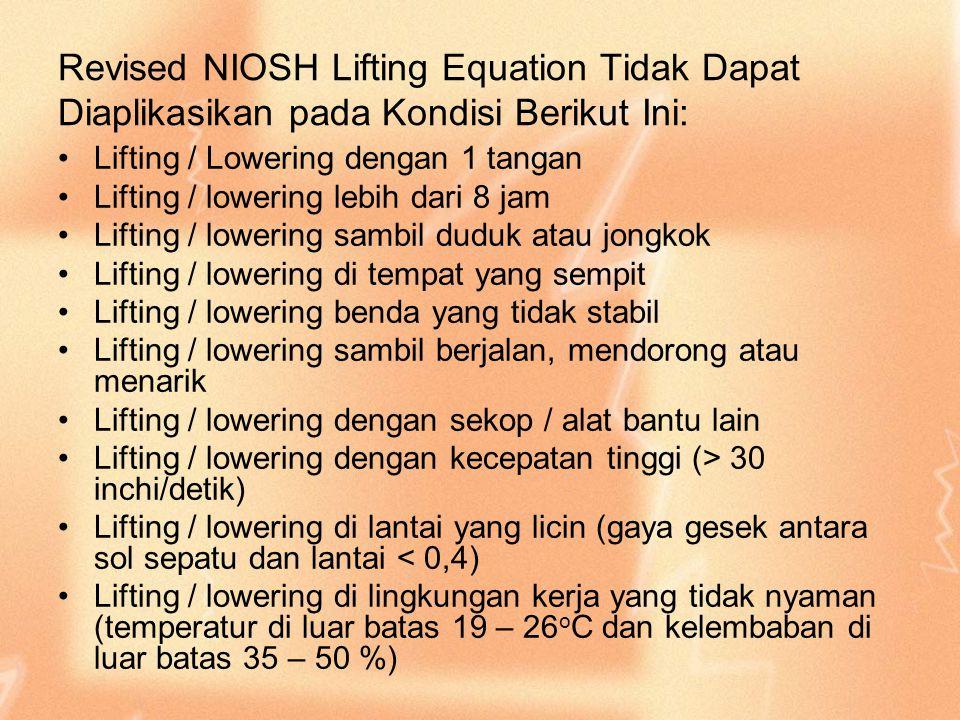 Revised NIOSH Lifting Equation Tidak Dapat Diaplikasikan pada Kondisi Berikut Ini: