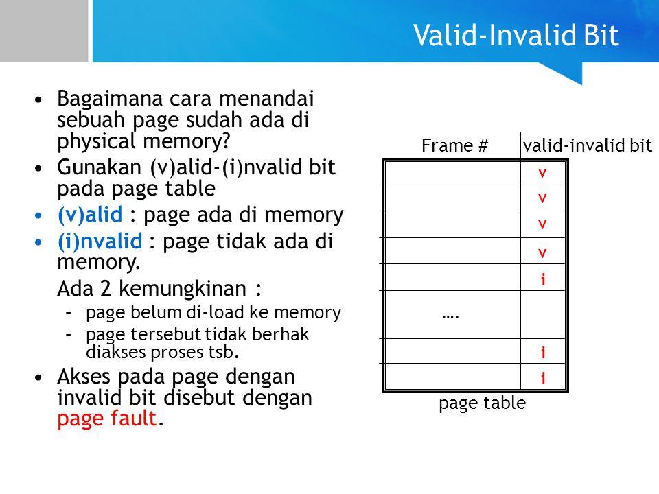 Valid-Invalid Bit Bagaimana cara menandai sebuah page sudah ada di physical memory Gunakan (v)alid-(i)nvalid bit pada page table.