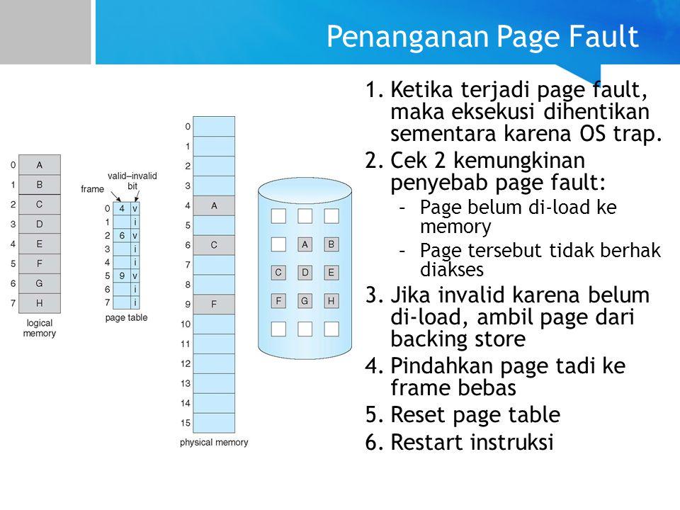 Penanganan Page Fault Ketika terjadi page fault, maka eksekusi dihentikan sementara karena OS trap.