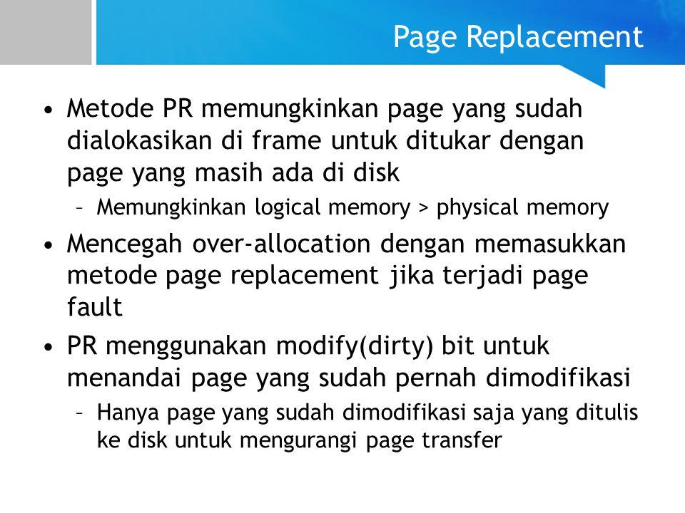 Page Replacement Metode PR memungkinkan page yang sudah dialokasikan di frame untuk ditukar dengan page yang masih ada di disk.