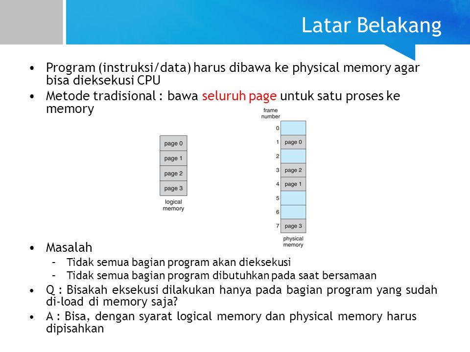 Latar Belakang Program (instruksi/data) harus dibawa ke physical memory agar bisa dieksekusi CPU.