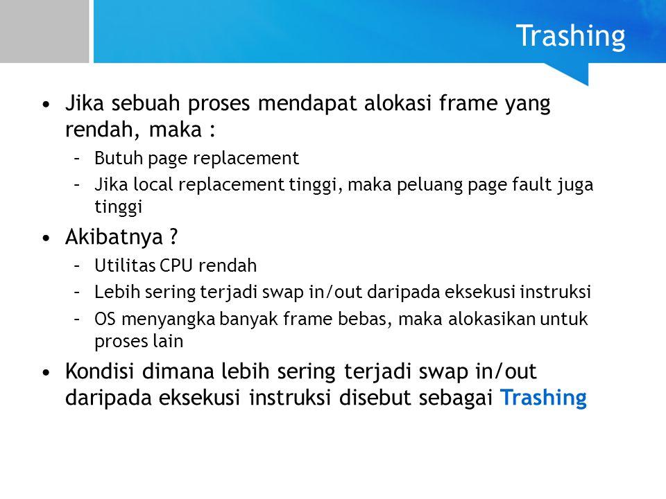 Trashing Jika sebuah proses mendapat alokasi frame yang rendah, maka :