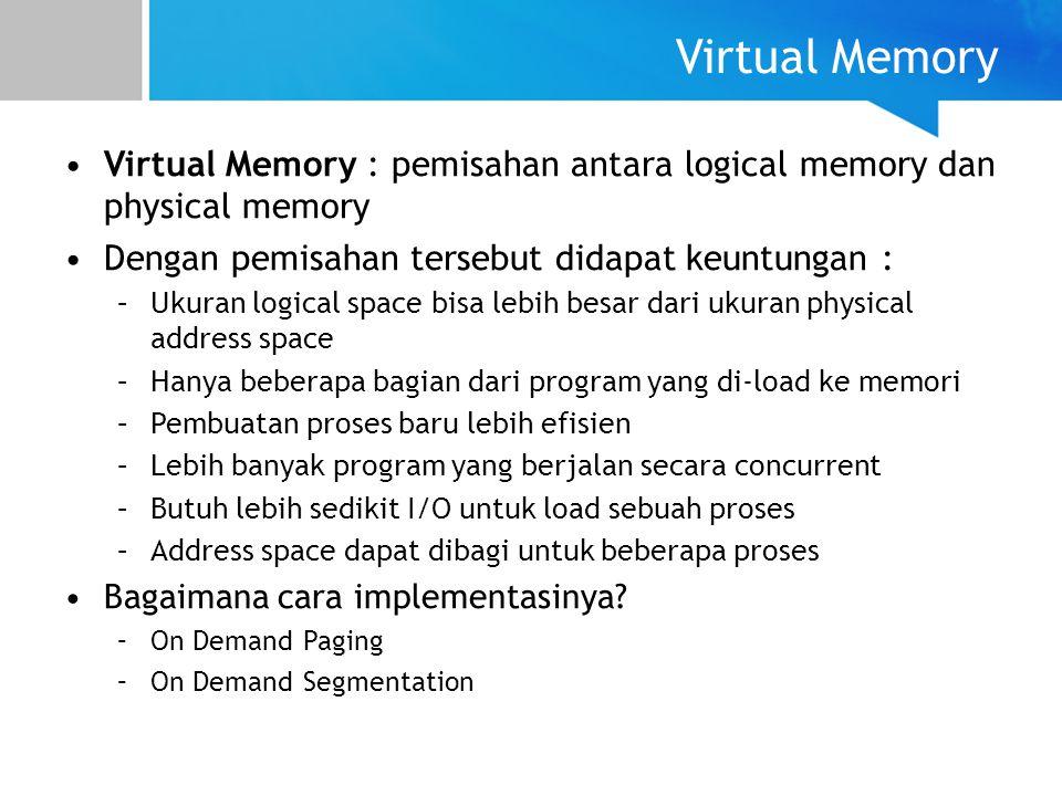 Virtual Memory Virtual Memory : pemisahan antara logical memory dan physical memory. Dengan pemisahan tersebut didapat keuntungan :