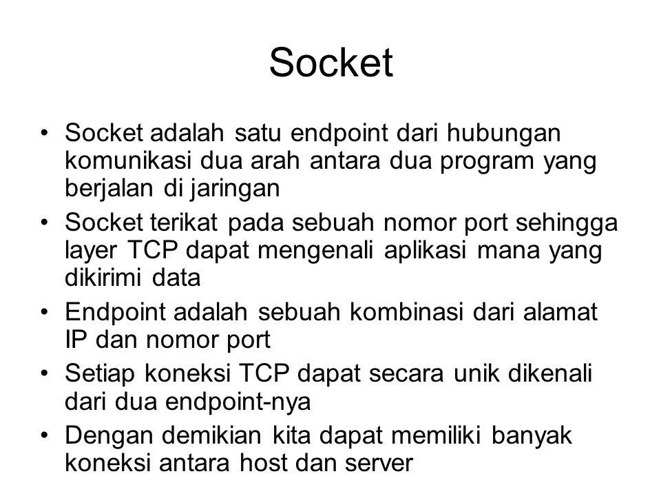 Socket Socket adalah satu endpoint dari hubungan komunikasi dua arah antara dua program yang berjalan di jaringan.